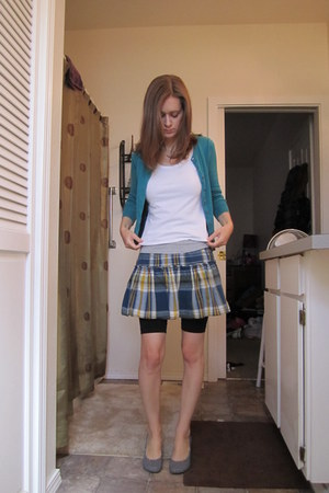 turquoise blue PacSun cardigan - white JC Penny t-shirt - blue Old Navy skirt -