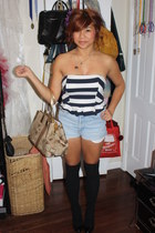 coach bag - diy high waist shorts - knee high socks - black heels - top