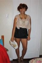 thrift vintage bag - tan heels heels - skirt - blouse