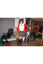 brown boots boots - red coat coat - scarf - bag bag - shorts - t-shirt