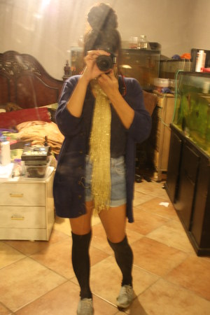 Old Navy cardigan - crop top Forever 21 shirt - sparkle scarf thrift scarf