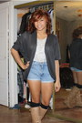 Brwn-boots-bag-diy-shorts-design-lacing-top-loosly-cardigan