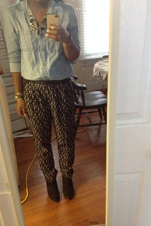 dark gray Vince Camuto pants - black Forever 21 boots - light blue Abound shirt