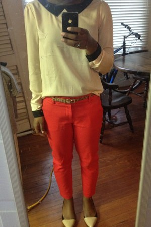 eggshell Forever 21 blouse - cream asos flats - red Target pants