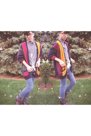 navy thrifted vintage cardigan