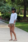 Brown-vintage-sunglasses-olive-green-forever-21-shorts-silver-top