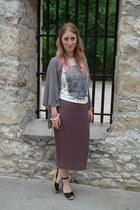 black Swedish Hasbeens sandals - light purple thrifted skirt