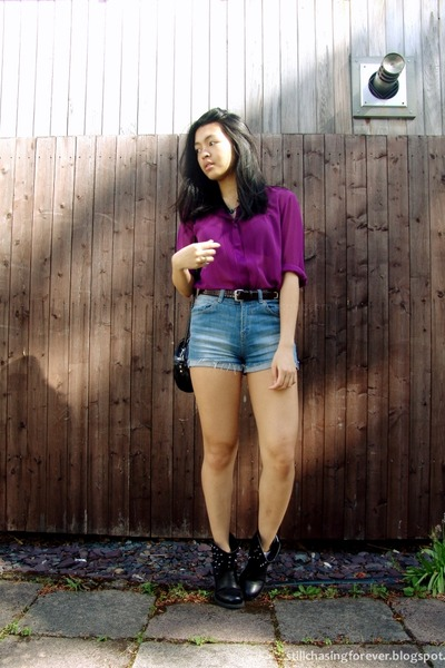 magenta united colors of benetton top - blue Bershka shorts