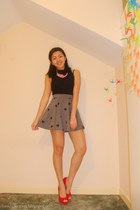 heather gray H&M skirt - bubble gum Forever 21 necklace - black Topshop top