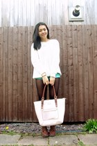 white Forever 21 sweater - cream Kenneth Cole bag