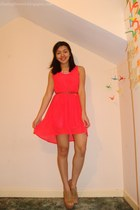 light brown Forever 21 wedges - coral H&M dress - bubble gum Forever 21 necklace