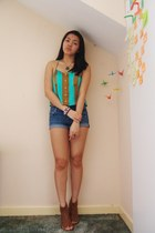 blue Forever 21 shorts - turquoise blue Forever 21 top - dark brown Zara sandals