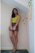 brown Forever 21 shorts - light brown Awear bag - lime green Primark top