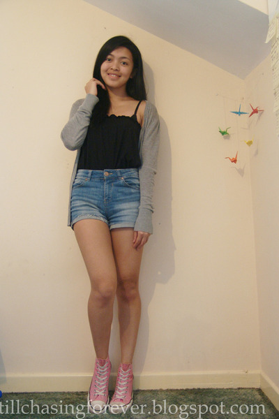 dark brown SM bag - blue Bershka shorts - heather gray Tequila solo cardigan