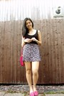 Hot-pink-lipsy-london-bag-hot-pink-h-m-skirt-black-forever-21-top