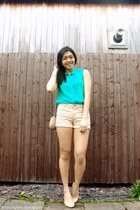 beige H&M shorts - light brown kultura bag - turquoise blue H&M top