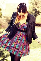 aztec printed asos dress - studded Mango jacket - aviator Ray Ban sunglasses