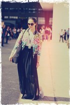 Mango skirt - floral print H&M jacket - DIY bag - round H&M sunglasses