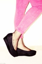 pink H&M leggings - black H&M wedges
