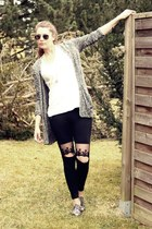 black lace knee OASAP leggings - Topshop sunglasses