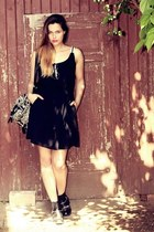black H&M boots - black and white Superdry dress - Deena & Ozzy bag