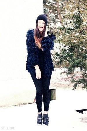 black H&M boots - black vintage hat - velvet OASAP leggings - evil twin cardigan