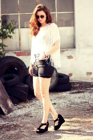 cut-out OASAP wedges - fringed H&M shirt - high waisted H&M shorts