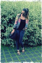 floral H&M jacket - leo printed set jeans - black H&M bag