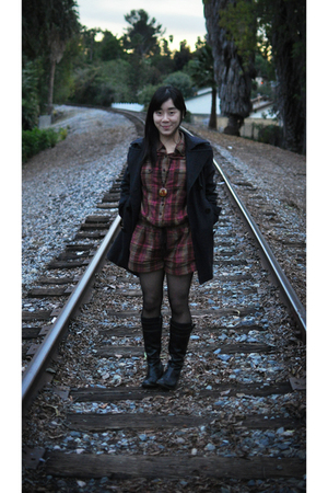gray New York and Company coat - black tights - brown Forever 21 shirt - black J