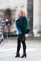 blue faux fur Ebay scarf - dark green feather Ebay jacket