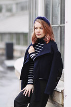 navy wool H&M jacket - camel pixel acne boots - navy turtleneck Zara shirt