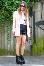 black leather acne wedges - light pink fitted H&M blazer