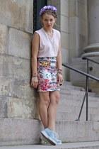 white floral print Primark skirt - eggshell H&M sunglasses