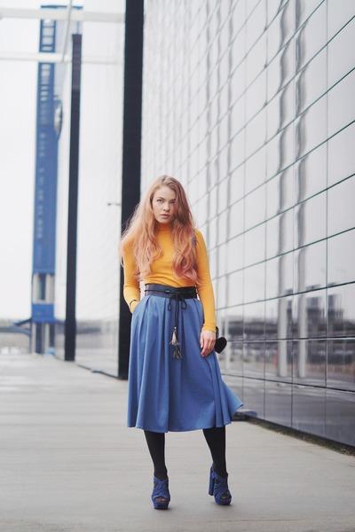 blue messenger 31 Phillip Lim bag - mustard turtleneck Zara shirt