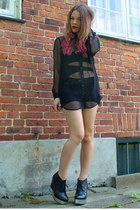 black see through H&M shirt - black denim shorts Primark shorts - black cut-out
