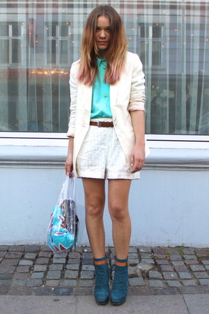 sky blue high heel asos boots - ivory cotton H&M blazer