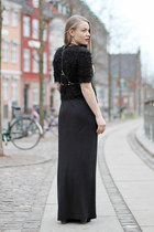 black studded Addict Initial boots - black maxi H&M dress
