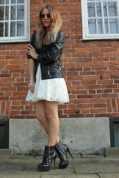White Lace Dress Gina Tricot Dresses Black Leather Biker