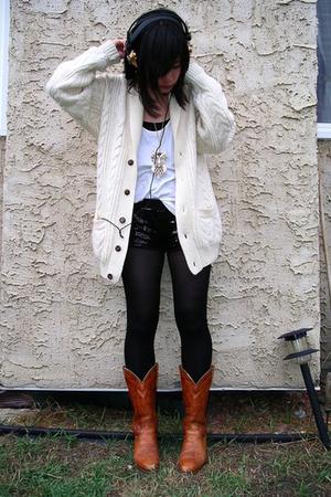 brown vintage frye sweater - white vintage sweater vintage sweater