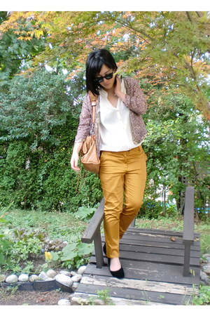 mustard H&M Pants pants - pink and gold Forever 21 jacket - white Zara shirt