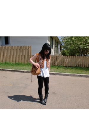 vintage boots - balenciaga accessories - vintage vest - ray-bans sunglasses