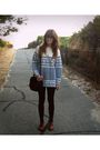 Blue-thrifted-sweater-brown-sportsgirl-shoes-thrifted-bag-sportsgirl-glass