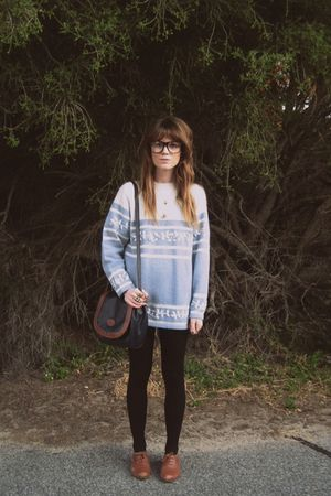 blue thrifted sweater - brown Sportsgirl shoes - thrifted bag - Sportsgirl glass