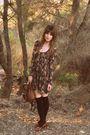Dotti-dress-brown-thrifted-bag-brown-thrifted-shoes-black-sportsgirl-socks