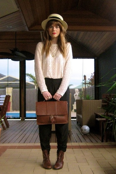 thrifted bag - vintage from Ebay boots - Sportsgirl hat - Sportsgirl blouse