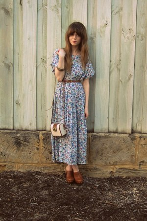 vintage dress - Sportsgirl bag - Hobbs clogs
