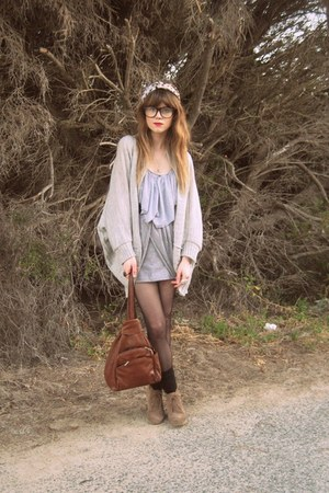 new look cardigan - Valleygirl skirt - thrifted bag - asos shoes