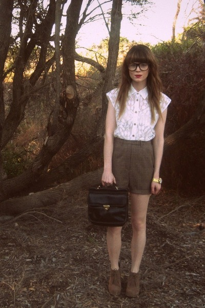 brown thrifted shorts - white Sportsgirl blouse - brown asos shoes - black thrif