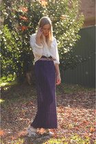 deep purple pleated maxi hilda mae skirt - white vintage blouse - white platform