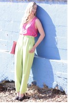 lime green thrifted vintage pants - hot pink thrifted vintage purse